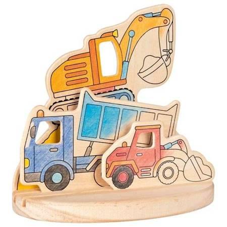 Drewniana kolorowanka z podstawką - Pojazdy, Goki