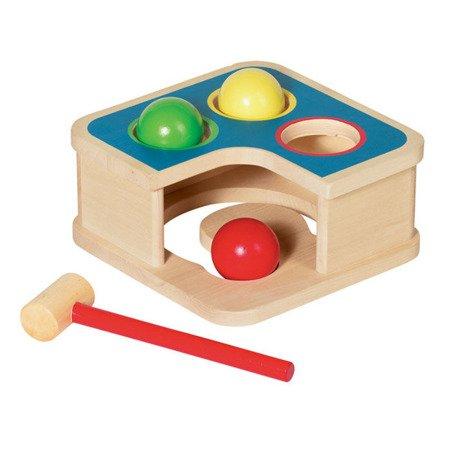 Drewniana przybijanka z piłkami i młotkiem, GOKI-58864