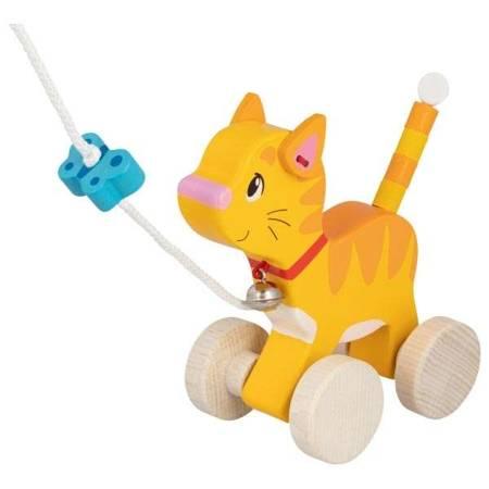 Drewniana zabawka do ciągnięcia kot