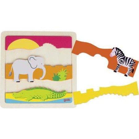 Drewniane puzzle Afryka Goki 57525