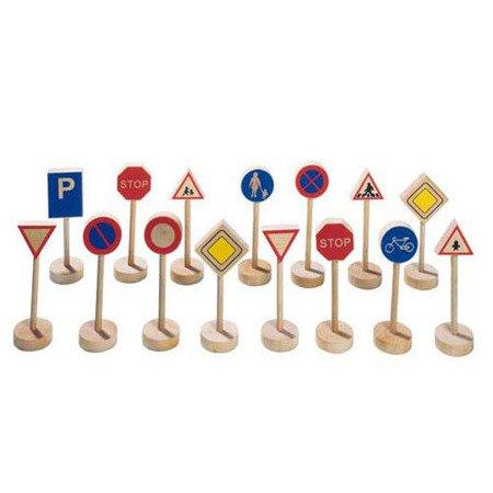 Drewniane znaki drogowe, zestaw do zabawy, Goki WM 397