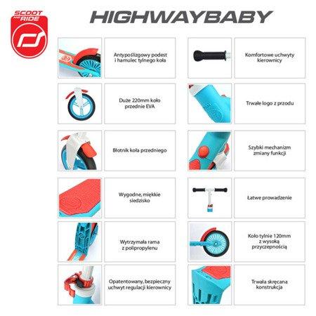Highwaybaby 2w1 hulajnoga i rowerek 1+ Pink, Scootandride