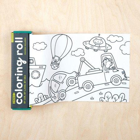 Mudpuppy Kolorowanka w rolce 76cm z 4 kredkami Środki transportu