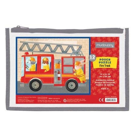 Mudpuppy Puzzle w saszetce Wóz strażacki 12 elementów 2+
