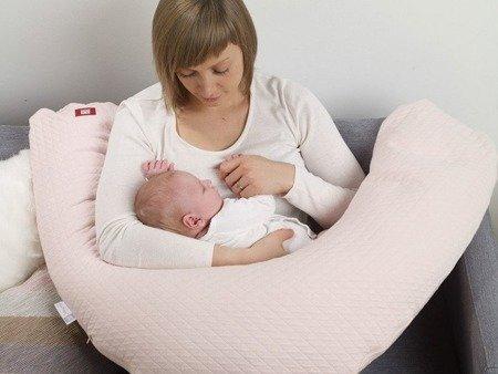 Poduszka rogal dla kobiet w ciąży i karmiących Big Flopsy Chambray grey, Red Castle