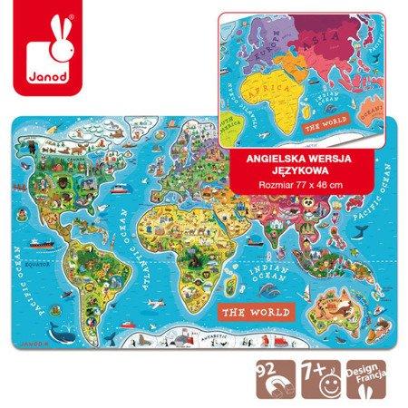 Puzzle magnetyczne Mapa świata, Janod