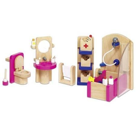 Różowa łazienka - mebelki do domku dla lalek, GOKI-51748