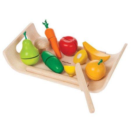 Warzywa i owoce na tacy - drewniany zestaw do zabawy, Plan Toys PLTO-3416
